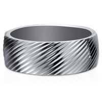 Stainless Steel Screw Thread Texture Men's Ring Band #r469