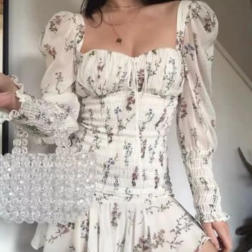 New women's French small dress puff sleeve elastic tube top print square collar lotus skirt