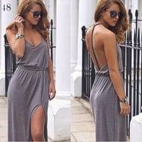 Fashion Casual Sleeveless Drawstring Waist Backless Slit Maxi Dress = 4765087684