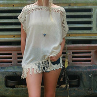 From The Beach To The Bonfire Oversized Taupe Crochet Frayed Top