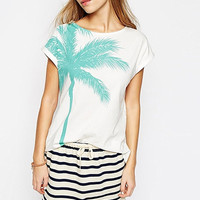 White Palm Tree Print Short Sleeve Top