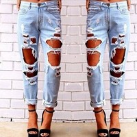 Sexy Womens Ripped Boyfriend Hole Jeans Trousers Casual Loose Retro Denim Pants = 5841915841