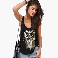Black Hamsa Foil Print Racer Back Tank Top