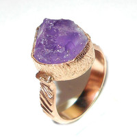 Purple Amethyst Ring - Raw Stone Ring - Gold Plated Brass Ring - Cocktail Ring - Handmade Ring - Rough Stone Jewelry - Natural Stone Ring