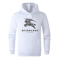 BURBERRY Autumn Winter Fashion Casual Print Long Sleeve Hoodie Sweater Pullover Top Sweatshirt White