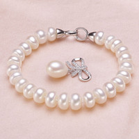 Wedding Freshwater Pearl Bracelet for Women,Real Natural Pearl Bracelets 925 Silver jewelry Girl Best Gift Birthday Top Quality