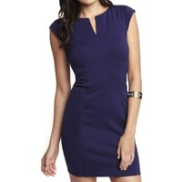 PONTE KNIT NOTCH NECK SHEATH DRESS