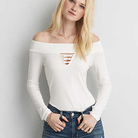 AEO Soft & Sexy Off-The-Shoulder T-Shirt, White