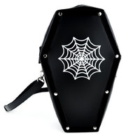 Spider Web Coffin Bag Gothic Purse Backpack Made From Vegan Synthetic Leather