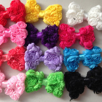 Clearance!!! PICK 2 Rosette Bows-Boutique Style-Petite Bows-Shabby Chic Clips--Toddler Hair Bows-Child-Baby Clips-Baby Girl Clips-Hair Clips