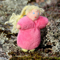 Rapuntsel Waldorf forest children doll, forest fairy in pink; montessory education