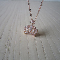 mini cross necklace, mini crystal, crown necklace, delicate, elegant, simple, elegant,rose gold,gold,silver optional, the best gift