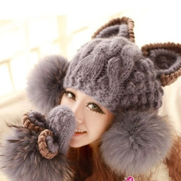 Cat Ear Hat, Women Fashion Acrylic Mixed Wool Winter Cap Skullies Beanies with Faux Fur Ball H3122 (Color: Gray)