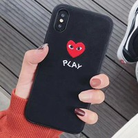 PLAY Tide brand embroidery love couple models iPhone xs max soft shell phone case cover black