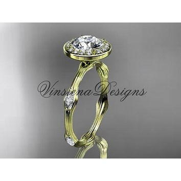 """14k yellow gold leaf and vine engagement ring, """"Forever One"""" Moissanite VD10075"""