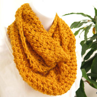 Soft Angora Cowl. Mustard hand crochet neck warmer, warm gold angora infinity scarf, gift under 40