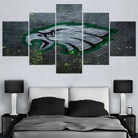 5 PCS New Style Philadelphia Eagles Canvas Painting Calligraphy Sport Ball Team Wall Art Paintings Modern Home Decor Picture