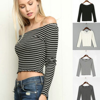 Slim Stripes Sexy Strapless T-shirts Long Sleeve Bottoming Shirt [4918719044]