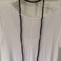 Handmade One of a Kind Black Double Wrap Beaded Necklace