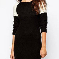 Black Contrast Long Sleeve Knitted Sweater Dress