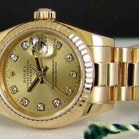 ROLEX Ladies 26mm 18kt Gold PRESIDENT Champagne Diamond Model 179178 SANT BLANC