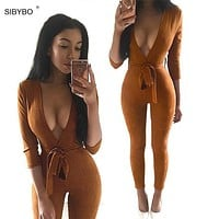 Suede Leather Bodycon Jumpsuit Romper 2016 Deep V Neck Lace Up Autumn Winter Black Sexy Bodysuits Party Women Jumpsuits Overalls