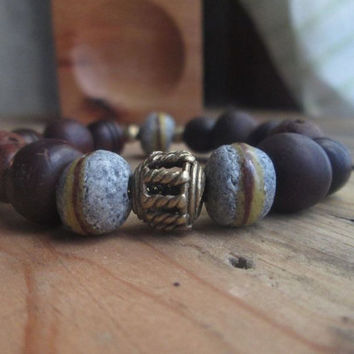 Eco Friendly, Recycled Glass, Brass, African Bead, Carved Wood, Bodhi , Vegan, Tribal, Unisex Bracelet, Exotic, Stacking, Black Friday Sale