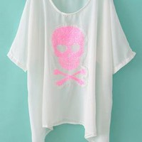 Pink Skull Sequins Batwing Thin Top/Bikini Cover-up