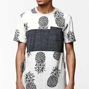 On The Byas Pineapple Chest Panel Pocket T-Shirt - Mens Tee - Gray