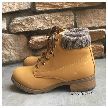 "SPECIAL! ""Bucket List"" Pepper Trim Tan Bootie Boots, Ankle Boots"