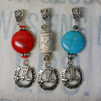 Cowboy Boot and Horseshoe Pendant, Cowgirl Necklace, Gypsy Necklace, Turquoise Horseshoe Pendant, Horse Lover Gift,