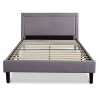 Queen Size Platform Bed with Grey Upholstered Headboard & Piped Frame Detail