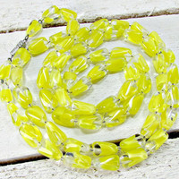 Vintage WEST GERMANY Necklace, Long Beaded Necklace, Yellow Givre Art Glass Necklace, 1960s Vintage Jewelry Great Gatsby Flapper Jewelry