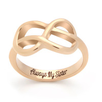 """Sister Infinity Ring, Infinity Symbol Ring """"Always My Sister"""" Engraved on Inside Best Gift for Sister"""