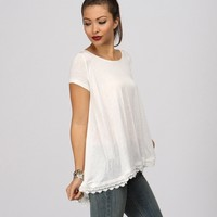 Sale-ivory Lets Swing Crochet Tee