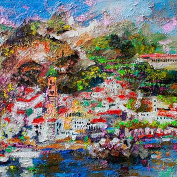 Amalfi Impression Italy Travel Oil Painting Textured Canvas