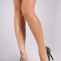Privileged Patent Studded Pointy Toe Pump