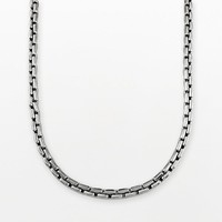 Stainless Steel Square-Link Chain Necklace - Men (Grey)