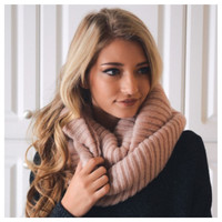 """""""Your New Favorite"""" Cozy Warm Ribbed Knit Dusty Pink Infinity Scarf"""