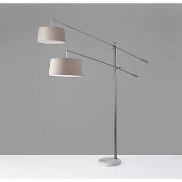 """77"""" X 75""""  X 78-102"""" Brushed Steel Metal Two-Arm Arc Lamp"""