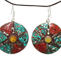 Amber Turquoise coral Earring