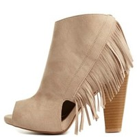 Qupid Fringe Cut-Out Peep Toe Booties by Charlotte Russe - Taupe