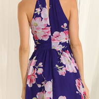 Floral Dress Spring - Blue Sleeveless Floral Patterned Print Dress