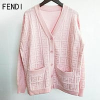FENDI Women F Letter Jacquard V Collar Knit Cardigan Jacket Coat