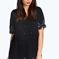 Karly All Over Hand Beaded Chiffon Playsuit