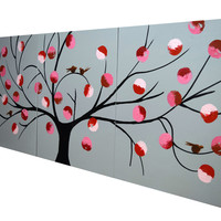 "ARTFINDER: triptych 3 panel wall art cute birds "" Birds of Reflection v2  "" tree of life cute 3 panel canvas wall abstract canvas 60 x 28"" by Stuart Wright - "" Birds of Reflection "" a triptych 3 panel pain..."