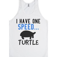 I have one speed turtle work out tank top tee t shirt-White Tank