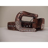 B.B. Simon Bronze And Silver Crystal Belt