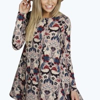 Simone Brushed Knit Floral Swing Dress