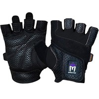 Meister Women's Fit Grip Weight Lifting Gloves w/ Washable Amara Leather - Black - Medium